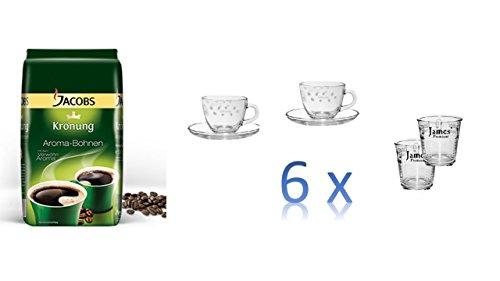 Jacobs Krönung Aroma-Bohnen, ganze Bohnen, Kaffeebohnen, 1er Pack, 1 x 500g + 6 Espresso Tassen cc75 + 6 Wassergläser von James Premium®