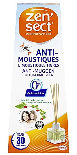 Zen'Sect Diffuseur Bâtonnets Répulsif Anti–Moustiques et Moustiques Tigres 40mL – 0% Insecticide – 30 Nuits