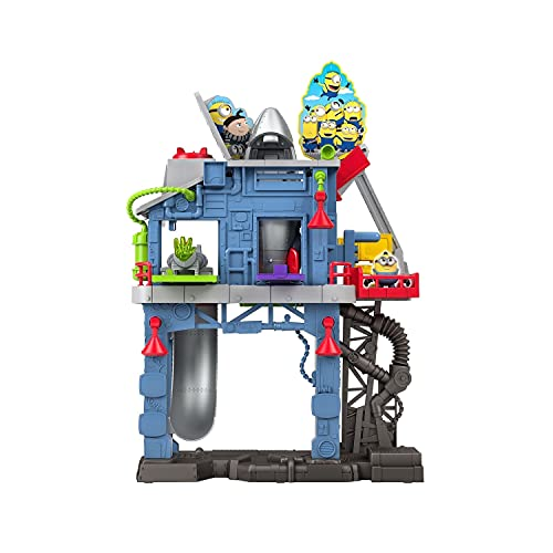 ​Minions: The Rise of Gru Fisher-Price Imaginext Gadget Lair playset with Minion Otto figure and removable rocket for preschool kids ages 3-8 years