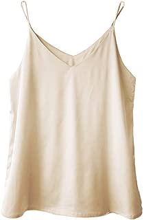 Womens Silk Satin Camisole Cami Plain Strappy Vest Top T-Shirt Blouse Tank Shirt V-Neck Spaghetti Strap XXS-4XL