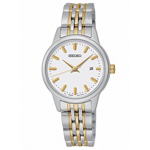 Quartz White Dial Two-Tone Stainless Steel Women's Watch - Seiko SUR834