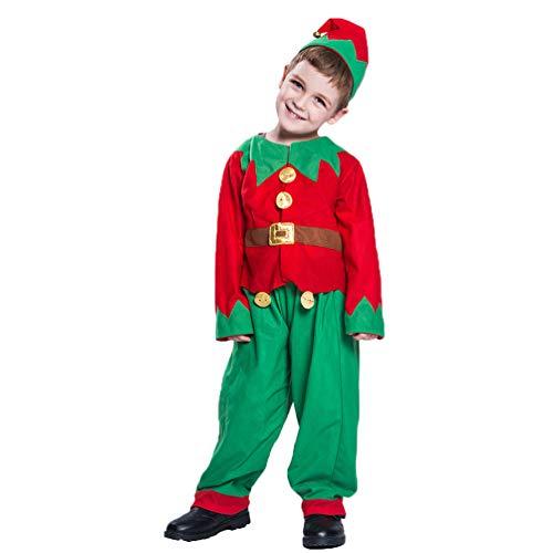 Kaiyei Disfraz de Duende Navideño para Niño y Adulto - Hombre Mujer Disfraz de Elfo Set Fiesta Rendimiento Cosplay Vestidos Top Pantalones Sombrero Zapatos Cinturón/Infantil Conjunto M