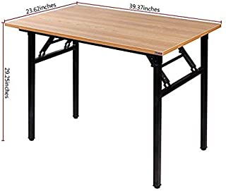 Need Folding Desk for Home Office 39-3/8'' Length Modern Folding Table Computer Desk No Install Needed Teak Color Desktop Black Frame, AC5BB(10060)