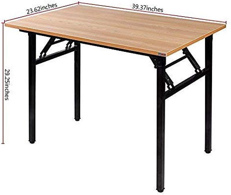 Need Folding Desk For Home Office 39 3 8 Length Modern Folding Table Computer Desk No Install Needed Teak Color Desktop Black Frame AC5BB 10060