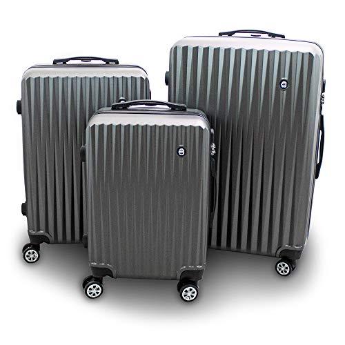 Barut® Kofferset 3-teilig Reisekoffer Trolley Hartschalenkoffer ABS Teleskopgriff Modell General (Grau)