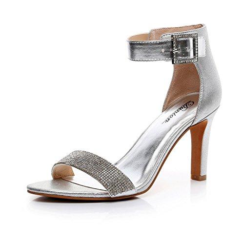 DUNION Women's Amy Rhinestone Strappy Stiletto High Heel Dress Sandal Party Prom Wedding Shoe,Silver,11 M US