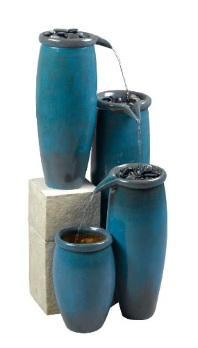 Kenroy Home #50008BG Agua Indoor/Outdoor Floor Fountain in Blue Glaze Finish