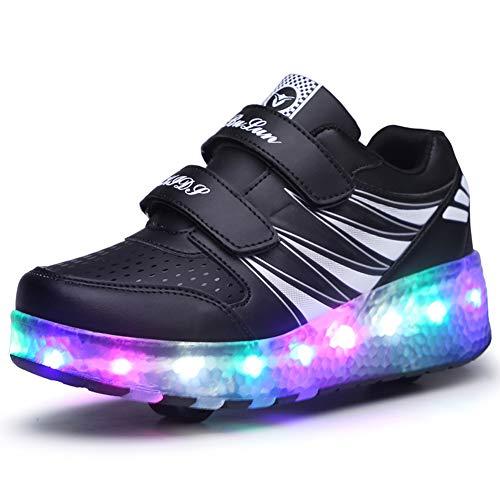 Bruce Wang Unisex Kinder Roller LED Schuhe leuchten Doppelräder Skateboard Turnschuhe Outdoor Sports Training Rollschuh Schuhe für Jungen Mädchen (37 EU, Schwarz 989)