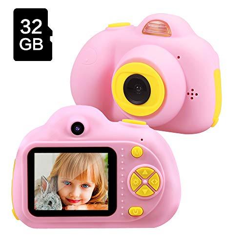 TekHome Spielzeug ab 3 Jahre | Kinderkamera Pink Mädchen 4 5 6 Jahre | 16MP 1080P HD Kinder Kamera mit 32GB SD Karte | Fotoapparat Digitalkamera Rosa Kinder 7 8 Jahre.