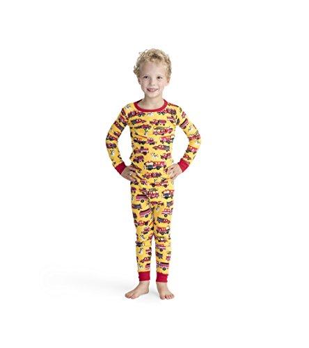 Hatley Jungen Organic Cotton Long Sleeve Printed Pyjama Set Zweiteiliger Schlafanzug, (Fire Trucks & Dalmatians), (Herstellergröße: 4 Jahre)
