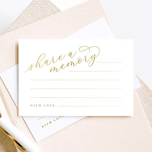 Bliss Collections Share a Memory Cards, 50 Pack of Gold Foil 4x6 Cards for Weddings, Showers, Birthdays, Celebration of Life, Funeral, Retirement, Going Away, Graduation Memories - Made in the USA