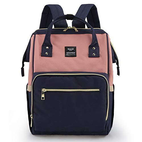 Himawari Diaper Bag Backpack Large Functional Waterproof Travel Backpack for Mom Maternity Nappy Bags Changing Bags(1209- Pink&Navy)