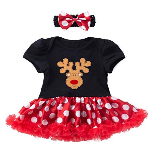 Cuteelf Kinder Kurzarm Weihnachtsbaum Brief drucken Polka Dot Pettiskirt Kleid + Haarband Neugeborenen Strampler Kleid Flauschigen Rock Stirnband Anzug