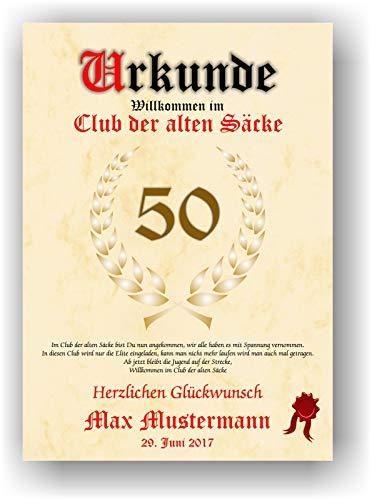 Urkunde ALTER SACK - Willkommen im Club der alten Säcke - personalisierte Geschenk Karte lustige Geschenkidee