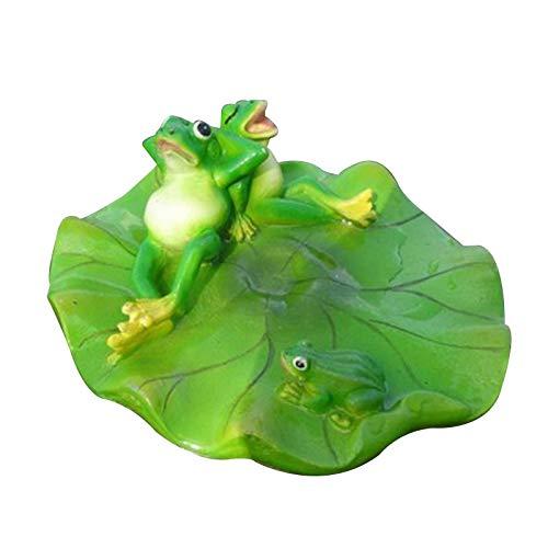 laoonl Ornamento flotante de agua de rana, estatua de rana, escultura de resina animal, estatua de rana en una hoja de loto, figura de rana 3D para decoración de piscinas micro-paisaje