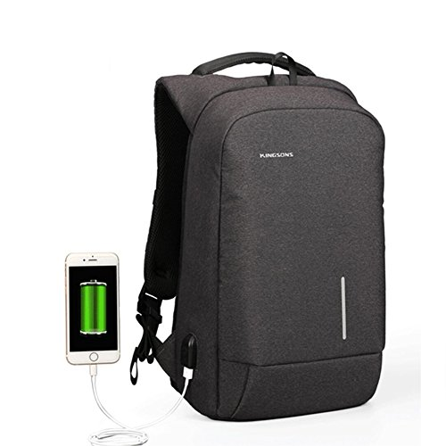 Kingsons New Arrival Anti-theft USB charging Men 13.6-15.6 inch Casual Laptop Backpack for Girls Boys Backpacks Female (15 inch, Dark grey)
