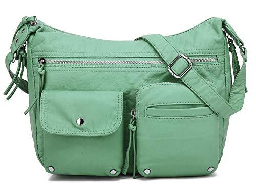 Scarleton Medium Crossbody Shoulder Bag for Women, Ultra Soft Washed Vegan Leather, Mint, H180053