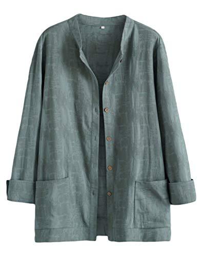 Mallimoda Donna Cardigan Elegante Cotone Camicie Giacca Manica Lunga Vintage Camicetta con Bottoni Verde L