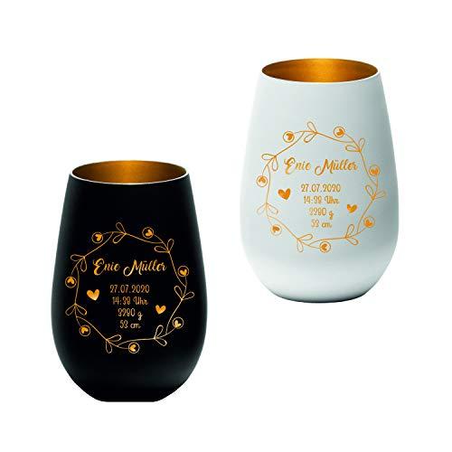 Windlicht mit Lasergravur personalisiert - weiß - schwarz - Geschenk zur Geburt - Babyparty