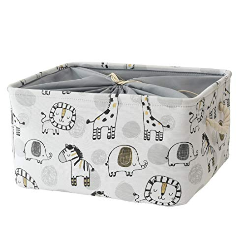 INough Baby Laundry Basket Giraffe Baby Storage Basket, Giraffe Decor Toy Storage Organizer Collapsible Laundry Baskets with Drawstring Nursery Hamper for Kid's Room Valentines Day Gifts (Giraffe)