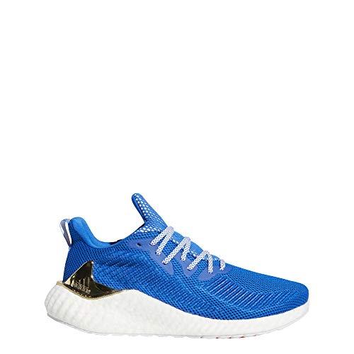 adidas Men's Alphaboost Running Shoe, Blue/Gold Metallic/White, 13 M US