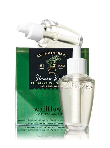 Bath and Body Works Aromatherapy Wallflowers, Refills, Eucalyptus Spearmint, 1.6 Fl Oz, 2-Pack