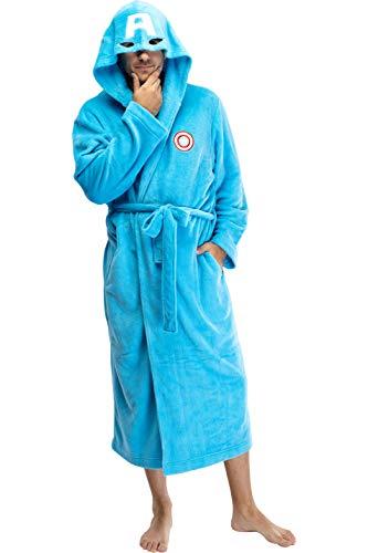 Marvel Captain America Adult Men's Embroidered Costume Fleece Robe Bathrobe - Standard