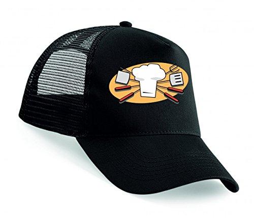 Snapback Grillen- KÜCHENCHEF- Geschirr- BBQ- Werkzeuge- Grill- Kochen- SPACHTEL- Chef Hut- Symbol- Farbe Unisex Baseballmütze Trucker Mützen Base Caps
