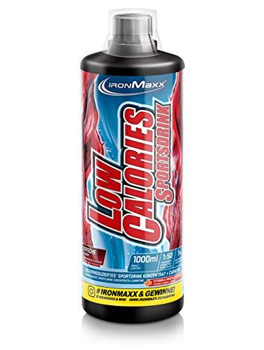 IronMaxx Low Calories Sportsdrink Sirup, 66 Portionen - Kirsche - Konzentrat mit weniger als 1 kcal auf 100 ml Fertigdrink - Enthält wertvolle Vitamine & L-Carnitin, 1000 ml