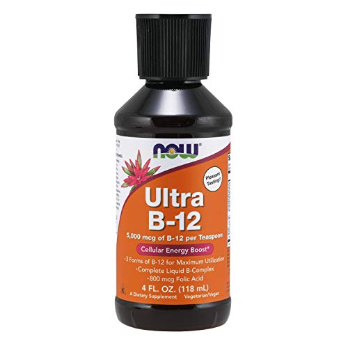 NOW Supplements, Ultra B-12, Liquid, 800 mcg Folic Acid, Cellular Energy Production*, 4-Ounce