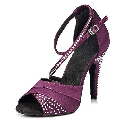 JUODVMP Women Rhinestone Dance Shoes Ballroom Latin Salsa Bachata Performance Dance Dancing Shoes,Purple-8.5cm Heel-7 US