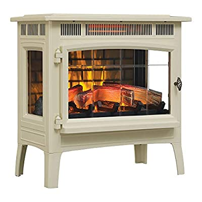 Duraflame 3D Infrared Electric Fireplace Stove with Remote Control - Portable Indoor Space Heater - DFI-5010 (Cream)