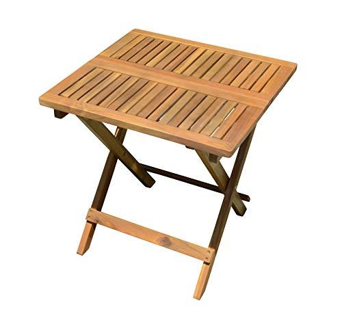 Spetebo Akazie Gartentisch - 50x50 cm - Klapptisch im Teak Look - Bistrotisch Biergarten Tisch Holztisch klappbar