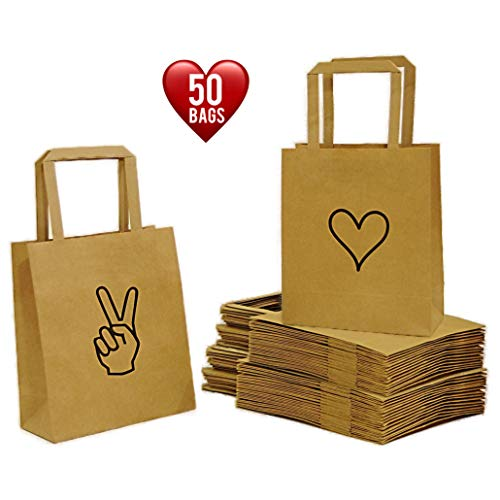 """Peace & Love Gift Bags (50 pcs, 25 Peace & 25 Love) Kraft Paper Bags, Paper Bags with Handles (6.8""""x3.5""""x8.3"""") Paper Gift Bags Bulk,Retail Bags,Wedding,Goodies,Brown Paper Bags for Any Occasion."""