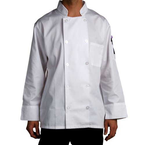 Chef Revival J100 24/7 Poly Cotton Blend Long Sleeve Basic Jacket with Clear Pearl Bottons, Small, White
