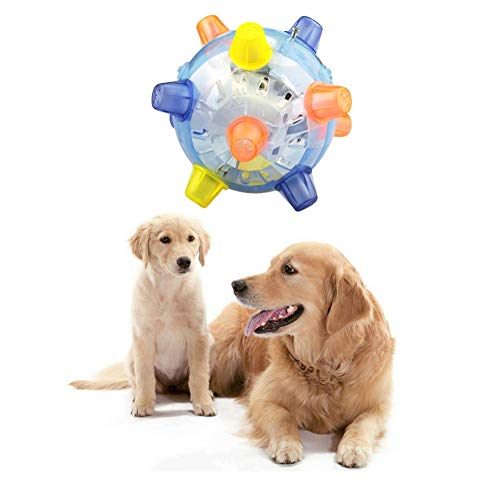 Savlot Hundespielzeugball, Haustierballspielzeug Blinkendes Licht Springender Aktivierungsball Katzen-Puzzlespielspielzeugball Haustier-wechselwirkendes Spielzeug, Farbe gelegentlich