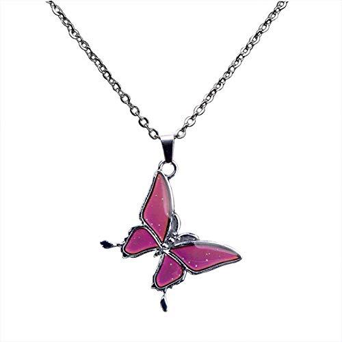 letaowl Collar Moda Temperatura Control de Color Cambio Mariposa Colgante Collar de Acero Inoxidable Cadena Collares para Las Mujeres