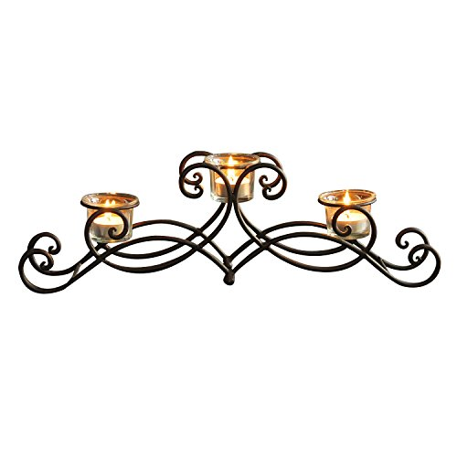 Adeco HD0009 Iron Table Desk Top Candle Holder, Scroll Design, Pyramid Layout Holds 3 Tea Lights, Black with Antique Finish