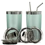 Bluepeak Double Wall Stainless Steel Vacuum Insulated Tumbler Set, 2-Pack. Includes Sipping Lids,...