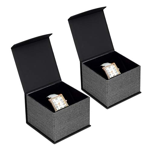Mooca 2Pcs Set Elegant Mesh Black Bracelet Watch Jewelry Cardboard Gift Box, Magnetic Gift Box, 4' W x 4 1/8' D x 3' H