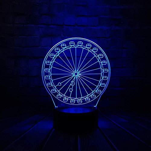 3D licht nachtlampje gadget innovatieve 3D panorama-wiel lamp USB LED wandlamp acryl energiebesparend romantisch geschenk decoratie met 3D afstandsbediening