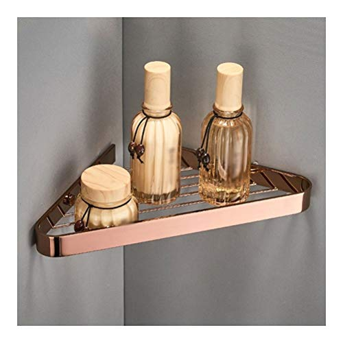 Copper Driehoek mand, Europese Net Basket Badkamer Corner Frame, Badkamer Wall Opknoping Rack 03.19 (Color : Rose gold, Size : Single layer)