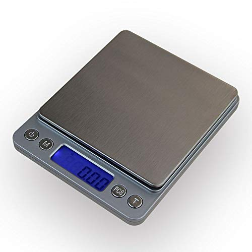 CHENTAOCS 500g x 0.01g Digital Kitchen Sieraden Scale Portable Mini Elektronische Pocket Case Postal weegschaal weegschaal 0,01 g Met 2 Tray (Color : Silver)