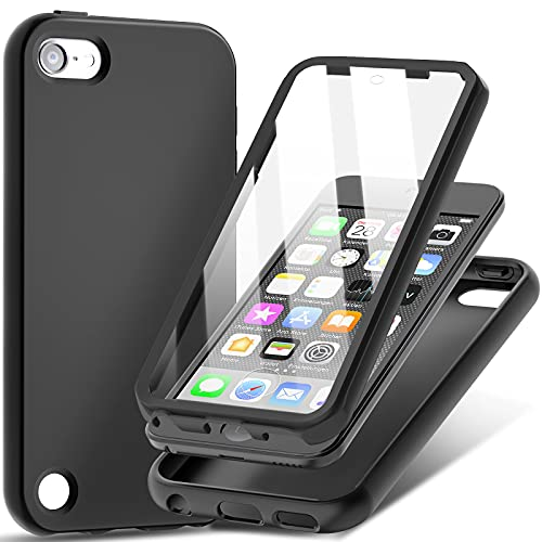 iPod Touch 7 Case, iPod Touch 6/5 Case,UNPEY Shockproof Silicone Case with Built-in Screen Protector, Slim Full Body Rugged Protective Cover for Apple iPod Touch 7th/6th/5th Generation Black