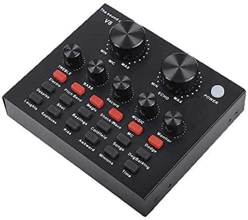 Kettles Tarjeta de Sonido V8 en Vivo con Cable de Audio &USB Cable, Mezclador de Audio móvil portátil USB Tarjeta de Sonido Externa para grabación de música. DJ Streaming K Song