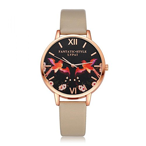 Reloj de Pulsera Cuarzo Diseño de Dos Pájaros de Dial para Mujer Correa de Cuero de PU(Beige)