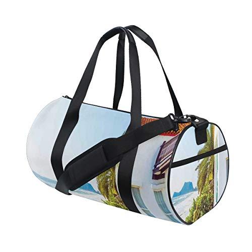 HARXISE Bolsa de Viaje,Ocean Home Porch View Estampado marroquí,Bolsa de Deporte con Compartimento para Sports Gym Bag