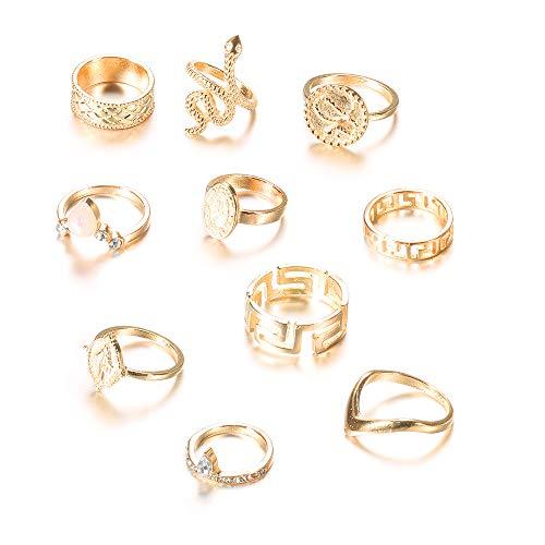 Edary - Set di anelli da nocca vintage, a forma di serpente, con pietre preziose, color oro, per donne e ragazze, Alumide,