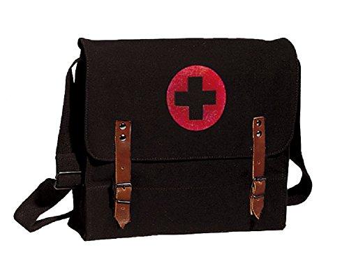 Rothco Black Vintage Army NATO Medic Shoulder Messenger Bag w/Red Cross