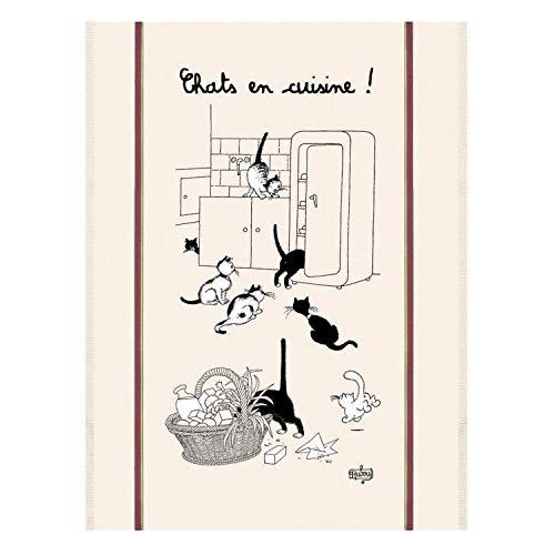 Torchon de cuisine rectangulaire en coton Les chats de Dubout